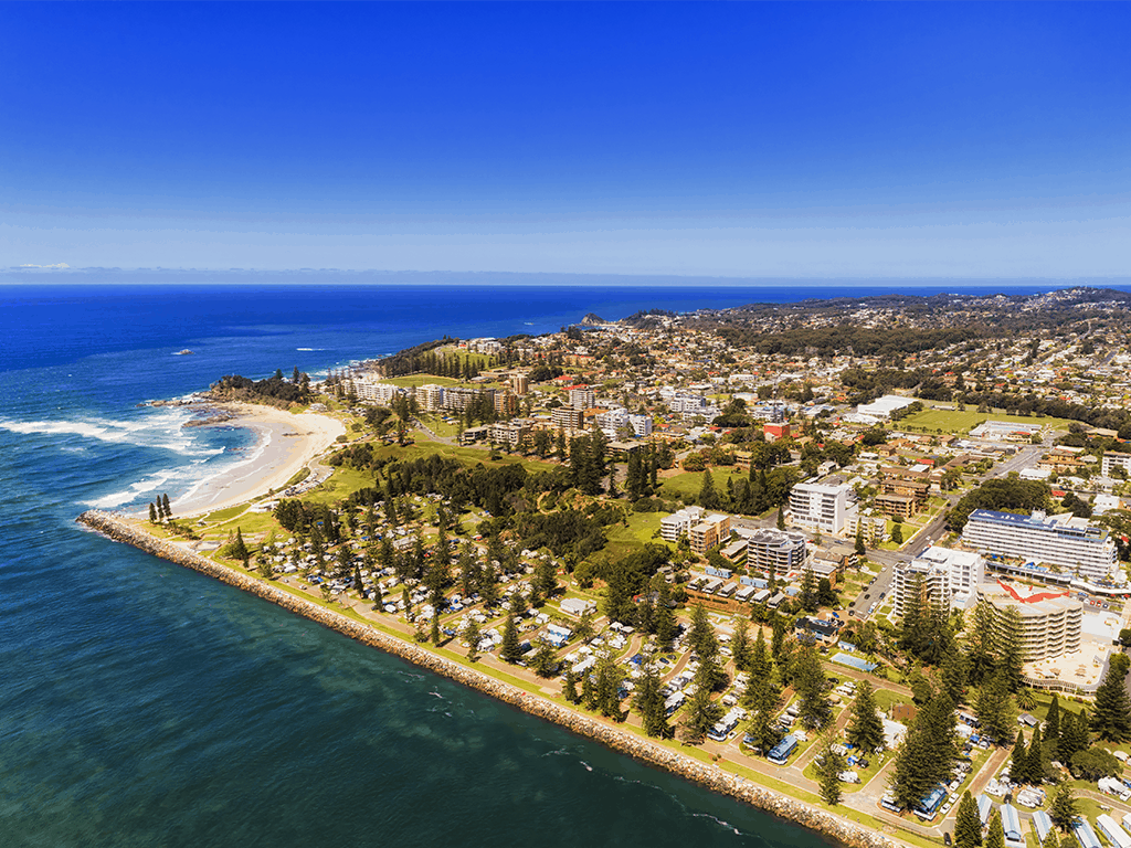 An aerial shot of the Port Macquarie area on a sunny summer day